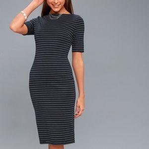 Lulus Navy Blue Striped Bodycon Midi Dress